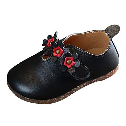BURFLY Mode Kinder Schuhe, Herbst Neu Baby Mädchen Blumen Schuhe Atmungsaktive Prinzessin Schuhe Solide Weicher Boden rutschfest Lederschuhe Erbsenschuhe Einzelne Schuhe -