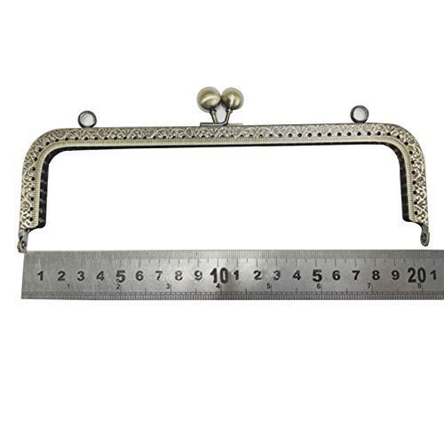 Asseny Meta-Rahmen, 20,5 cm, Geldbörsen-Rahmen, Verschluss mit Verschluss, quadratisches Design, Taschen-Rahmen Silber -