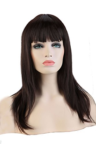 S-noilite Stylish 23(58cm) Lady Full Head Wigs Flat Bangs/Fringe Straight Hair One Piece Long Wig (Dark Brown) by (Kostüme Hoher Je)