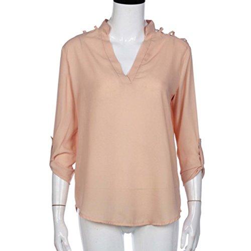 ... WOCACHI Damen Sommer T-Shirts Reizvolles Frauen Chiffon Normallack  lange Hülsen Schulter Höhle Blusen T ...