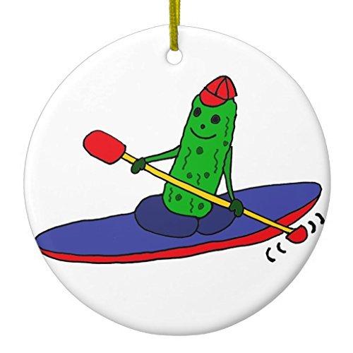 Weihnachtsschmuck Ornament Funny Funky Kayaking Pickle Kreis rund Ornamente für Crafts Keramik (Pickle Ornament)