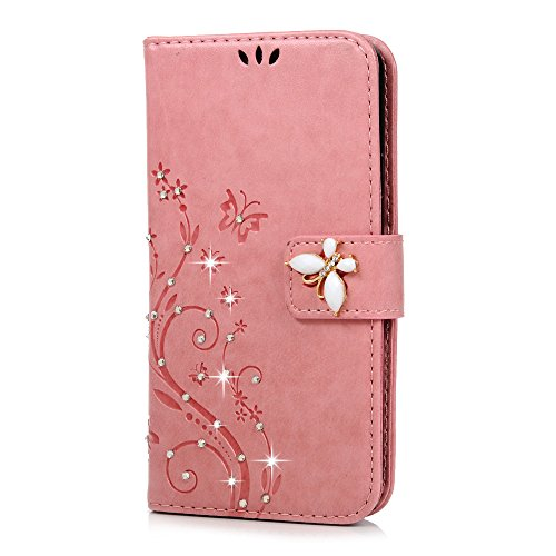 S5Case, Samsung Galaxy S5Fall-Mavis 's Diary 3D Handmade Brieftasche Bling Kristall Diamanten Schmetterling Fashion Floral PU-Leder mit Handschlaufe Magnetverschluss Kartenhaltern