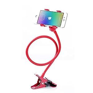Porta cellulare, Smartphone Holder, NIUTOP universale porta cellulare clip pigro staffa flessibile lunghe braccia del supporto del supporto del basamento della culla per iPhone 6 plus / 6 / 5s / 5 / 4S / 4, Samsung Galaxy S6 Edge S5 S4 S3 S2 i9300 i9500 Nota 3 2 HTC One M8 M9 Moto E G X Google Nexus 4 5 6 LG Optimus G2 G3 Huawei Ascend G6 G7 Mate 7 Huawei Honor 6 Xiaomi Note ZTE Lenovo Sony Nokia Blu smartphone Android dispositivi GPS, in forma On Desktop Bed Dashboard Tavolo supporto mobile per l'automobile, Camera da letto, ufficio, bagno, cucina, ecc, doppio clip, rotazione di 360 gradi (rosso)