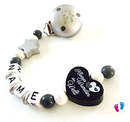 Preisvergleich Produktbild Schnullerkette mit Namen - Kleines Wunder der Welt - Kleiner Prinz - Stern - Junge - schwarz - grau - silber - weiß B 001 / B 002