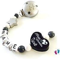 Schnullerkette mit Namen - Kleines Wunder der Welt - Kleiner Prinz - Stern - Junge - schwarz - grau - silber - weiß B 001 / B 002
