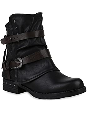 Stiefelparadies Damen Stiefeletten Biker Boots Leicht Gefütterte Stiefel Bikerstiefel Schnallen Leder-Optik Schuhe...