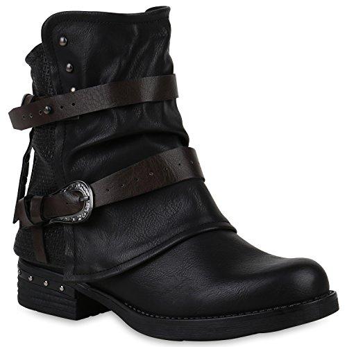 Stiefelparadies Damen Stiefeletten Biker Boots Leicht Gefütterte Booties Schnallen Schuhe 147631 Schwarz Nieten 38 Flandell