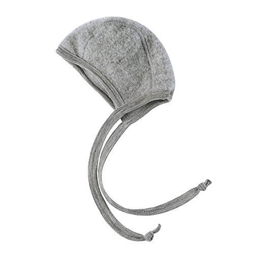 Baby Häubchen, Fleece, 100% Wolle, Engel Natur, 4 Farben (50/56, Hellgrau melange) (Baby-fleece-mütze Fleece)