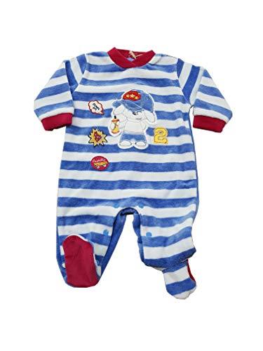 Pastello tutina neonato con i piedini in ciniglia corredino per bambino (art. tc20p) (9-12 mesi, panna e jeans)