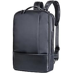 XIUJUAN Mochila para Portatil 15.6 Pulgada Versión Mejorada, Impermeable 3 en 1 Bandolera/Maletin / Ordenador MacBook Backpack Ocio Mochila para Hombre Mujer Estudiante Negocio Trabajo, 20L Negro