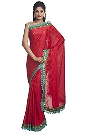Chabbra555 Crepe Saree (Vbfx8795_Chinese Red)