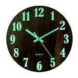 GANADA 12Zoll Wanduhr Leuchtend Wanduhr Vintage mit Leuchtziffern Wanduhr Holz Wanduhr Lautlos für Wohnzimmer, Küche, Esszimmer, Büro und Schlafzimmer