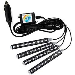 LED Strip Dekorative Atmosphäre Light , MIHAZ Innenraumbeleuchtung Lichtleiste 36 LEDs 16 Farben 4 Stück Auto Atmosphere Licht für Innenraum Fußraum Underdash Neon Dekoration Beleuchtung Strips mit Sound Active Funktion und APP Control