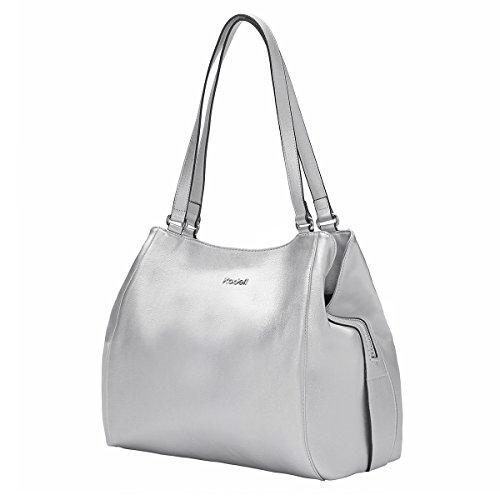 Kadell Womens Leder Schultertasche Elegant Groß-Taschen Tragetasche Satchel für Damen Silver -