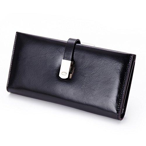 Mefly Moda Donna Lungo La Cera Olio Wallet Blue black