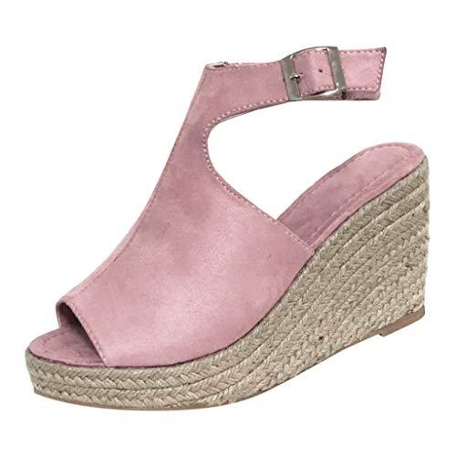 LUGOW Espadrille Römische Schuhe Sandalen Damen Schnallenriemen Sandalen Römische Schuhe Espadrille Zehentrenner Hausschuhe Keilabsatz Sommer Böhmen Flatform Sandalen(38,Rosa)