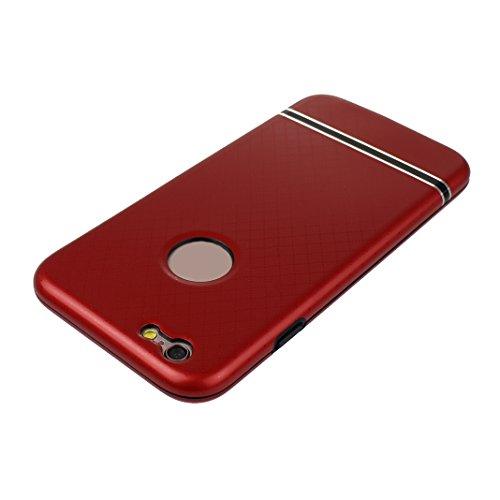 Dur Coque Pour iPhone 6 Plus/6S Plus, Asnlove PC Hard Cover Intégrale Avant et Arrière Housse avec Protection d'écran en Verre Trempé Cas Rigide Étui Antichoc Case Pour iPhone 6 Plus/6S Plus - Marbré/ Rouge
