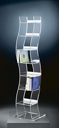 HOWE-Deko Hochwertiger Acryl-Glas CD Ständer/CD Regal/CD Aufbewahrung, klar, Außenmaße 17 x 21,5 cm, H 100 cm, Acryl-Glas-Stärke 6/4 mm