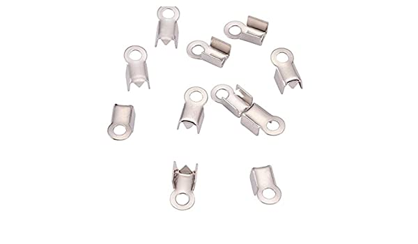 500pcs Top Quality 7mm Fold over Cord Ends Crimps Tips Terminator Stopper Connector Beads Sterling Silver Plated Copper Brass CF80