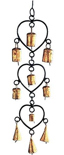 stealstreet 38,1cm Eisen Dreifach Herz Windspiel mit 4Glocken