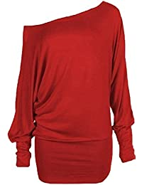 XCLUSIVE COLLECTION WOMENS PLUS SIZE OFF SHOULDER PLAIN BAGGY BATWING SLEEVE SLOUCH DRESS TOP 8-20 (L/XL, RED)
