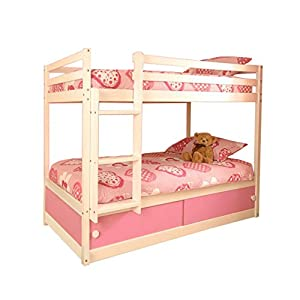 Girls Slide Storage Wooden Bunk Bed in White with Pink Sliding Doors & 2 Basic Budget Mattresses