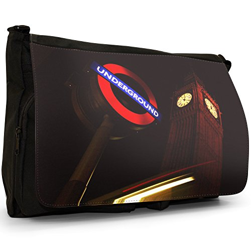 Fancy A Bag Borsa Messenger nero Mind The Gap Sign on London Underground Underground Sign Illuminated Under Big Ben