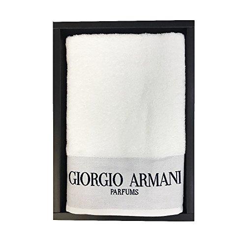 Giorgio armani. telo mare bianco in spugna 72x150cm asciugamano piscina unica misura (bianco)