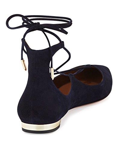 ELASHE - Femmes - Ballerines - Grande Taille Chaussures - Plates à lacets - Bout pointu fermé Navy-Blau