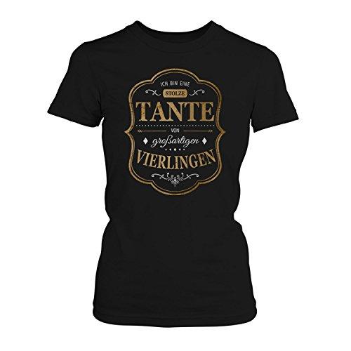 Fashionalarm Damen T-Shirt - Ich bin eine stolze Tante von großartigen Vierlingen | Fun Shirt mit Spruch als Geburtstag Geschenk Idee für Patentante Schwarz