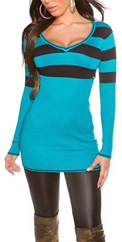 Damen Long Pulli, Pullover oder auch über einer Leggins als gestreiftes Minkleid tragbar, Einheitsgröße 32-38 (900102 türkis)