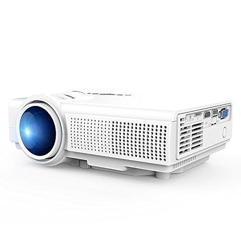 TENKER Q5 Mini LED LCD Projektor Full HD 1080p, Tragbarer Multimedia Beamer Heimkino Projektor Unterstützt USB TF Karte VGA AV für Heimkino TV Laptop Spiele iPhone Android Smartphone, Weiß