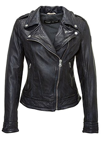 Freaky Nation Damen Stylisch Bikerjacke Lederjacke (S, Nightblue)