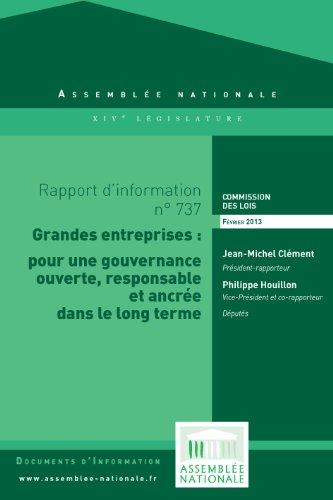 Couverture du livre Rapport d'information sur la transparence de la gouvernance des grandes entreprises