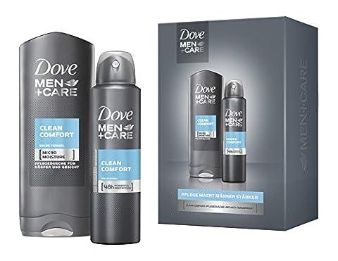 Dove Men+Care Geschenkset Clean Comfort: Duschgel und Deospray, 2er Pack (2 x 1.51 Liter)