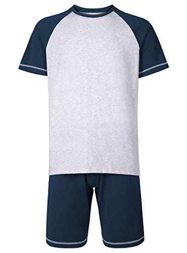 92dc16f82b6f Genuwin Herren Zweiteiliger Schlafanzug Kurz Pyjama aus Baumwolle, 2-tlg  Set Kurzarm Shirt