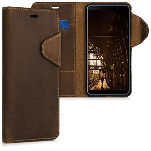 kalibri Samsung Galaxy A7 (2018) Hülle - Leder Handyhülle für Samsung Galaxy A7 (2018) - Handy Wallet Case Cover