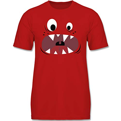 Kinder - Monster Kostüm Gesicht - 116 (5-6 Jahre) - Rot - F130K - Jungen Kinder T-Shirt ()