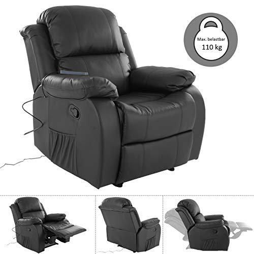 MACO Import Fernsehsessel mit Massage und Wärmefunktion - dick gepolsterter Relaxsessel aus Kunstleder in schwarz -