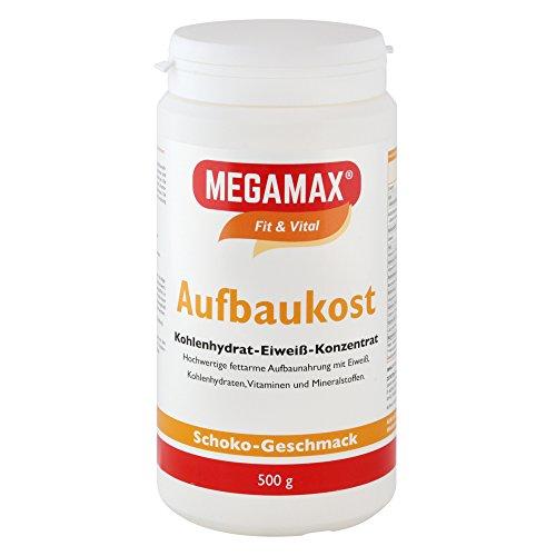 MEGAMAX Aufbaukost Schoko 500g | Ideal zur Kräftigung und bei Untergewicht | Proteinpulver zur Zubereitung eines fettarmen Kohlenhydrat-Eiweiß-Getränkes für Muskelmasse & Gewichtszunahme -