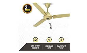 Gorilla Efficio+ Energy Saving 5 Star Rated 3 Blade Ceiling Fan With Remote Control and BLDC Motor, 1200mm- Metallic Gold