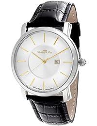 Lindberg & Sons LSSM83 - Reloj de pulsera con fecha analogico para hombre, de cuarzo, calibre suizo, con correa de cuero negro