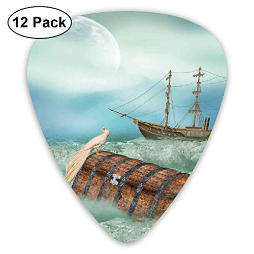 Celluloid Guitar Picks - 12 Pack,Abstract Art Colorful Designs,Antique Old Trunk In Ocean Waves With Magic Bird Pirate Boat Picture,For Bass Electric & Acoustic Guitars. - Pictures Bird Antique