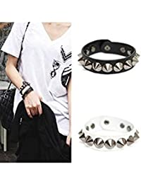 ELECTROPRIME Punk Gothic Rock Faux Leather Rivet Stud Spike Bracelet Cuff Bangle Wristband