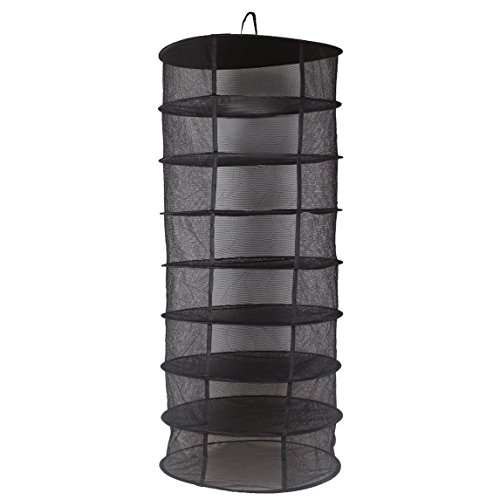 JOYOOO Hanging 8 Tier Detachable Dry Rack Hydroponic Grow Tent Herb Bud Plant Clothes Drying Net((60cm X 8 tiers) (Noir)