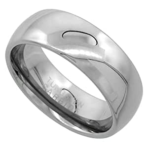 Revoni Tungsten Carbide 8 mm Comfort Fit Domed Wedding Band Ring for Him & Her Mirror Polished Finish, size J