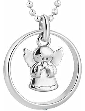 fish Mädchen Junge Hals-Silberkette echt Silber Schutzengel-Anhänger Taufring Taufgeschenk klar Geschenkbox, Geschenkideen...
