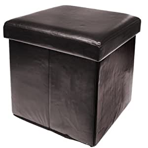 New Ottoman Foldaway Storage Blanket Toy Box Faux Leather Chocolate