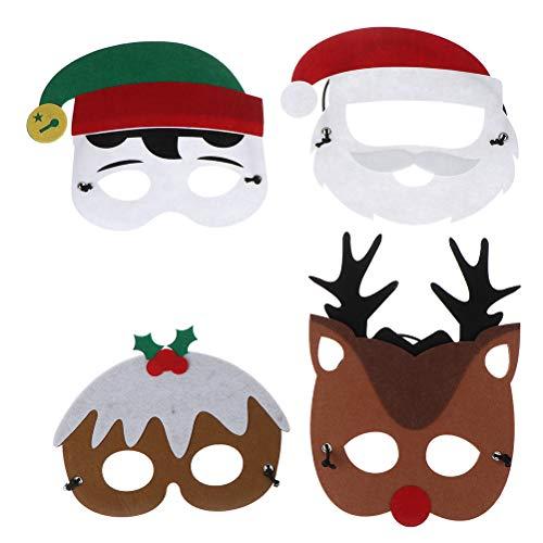 BraveWind Filz-Masken für Weihnachten, Weihnachten, Elch, Schneemann, Weihnachtsmann, Filz-Maske, für Kinder, Weihnachtsfeier, Kostüm, 4 Stück