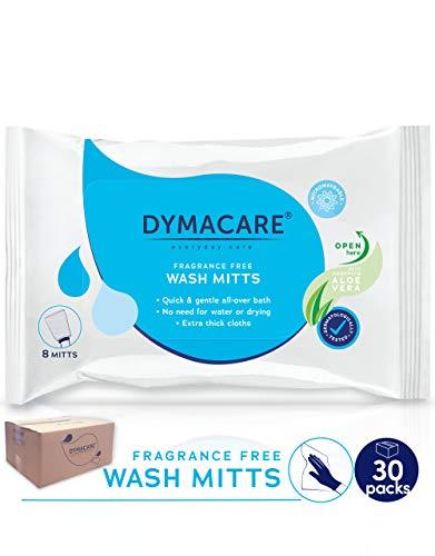 DYMACARE Waschhandschuhe, parfümfrei, mikrowellengeeignet, für Erwachsene, mit Aloe Vera - Spülen Sie freie Reinigungstücher - Latex, Lanolin und Alkohol frei -